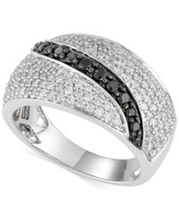 Macy's Diamond Black And White Ring 1 Ct. T.W. In 14K White Gold