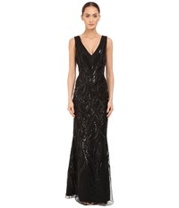 Marchesa Sleeveless V Neck Gown With Sequin And Ribbon Embroidery Black Women's Dress