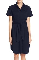Women's Cynthia Steffe 'Maya' Belted Poplin Fit And Flare Shirtdress Caviar