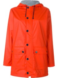 Petit Bateau Hooded Button Up Parka Red