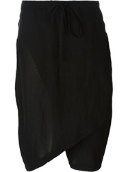 Lost And Found Crossover Front Knee Shorts Black