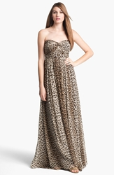 'Aidan' Convertible Leopard Print Long Chiffon Gown Online Only Multi Brown Tan