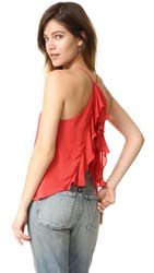 Haute Hippie Ruffle Back Cami Peach Pop