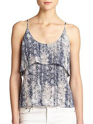 Rory Beca Nicol Silk Split Back Top Grey Print