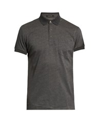 Ermenegildo Zegna Patch Pocket Cotton Pique Polo Shirt Dark Grey