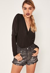 Missguided Black High Waisted Ripped Holographic Coated Denim Shorts