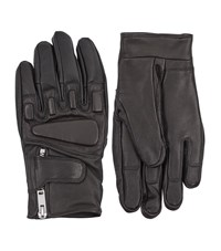 Sandro Race Leather Gloves Unisex Black
