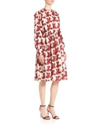 Msgm Silk Printed A Line Dress White Print