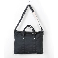 Stighlorgan Leary Black Lacquered Canvas Rolltop Laptop Bag