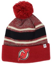 '47 Brand New Jersey Devils Fairfax Pom Knit Hat Red Black