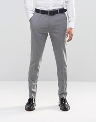 New Look Skinny Fit Smart Trousers In Grey Grey