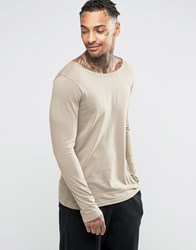 Asos Long Sleeve T Shirt With Boat Neck In Brown Brown