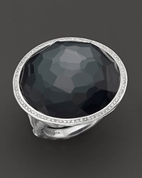 Ippolita Stella Ring In Hematite Doublet With Diamonds In Sterling Silver Multi