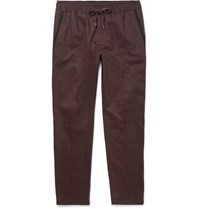 Dolce And Gabbana Slim Fit Drawstring Contrast Trimmed Cotton Trousers Burgundy