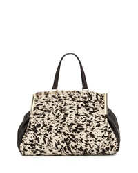 Halston Heritage Leather Satchel With Calf Hair Sides Black Multi