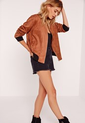 Missguided Contrast Rib Faux Suede Bomber Jacket Brown Brown