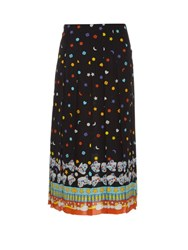 Gucci Bow Print Crepe De Chine Midi Skirt Black Multi
