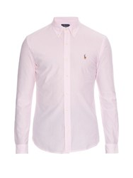 Polo Ralph Lauren Striped Button Cuff Cotton Pique Shirt Pink White
