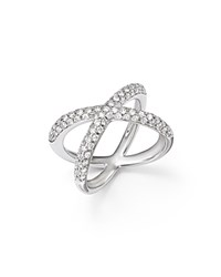 Bloomingdale's Diamond Pave X Band Ring In 14K White Gold 1.0 Ct. T.W.
