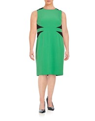 Nipon Boutique Plus Colorblocked Crepe Dress Leaf Black