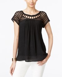 Ny Collection Lace Trim Lattice Neck Top Black