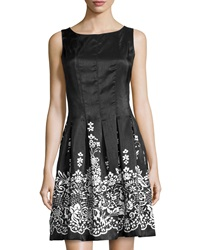 Chetta B Solid And Floral Print Scoop Neck Dress Black White