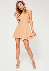 Missguided Nude Square Neck Open Back Skater Dress