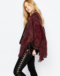 Sunshine Soul Boho Oversized Poncho Jumper With Tassel Detail Burgundy
