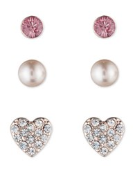 Lonna And Lilly Heart Sphere Disc Stud Earrings Set Rose Gold