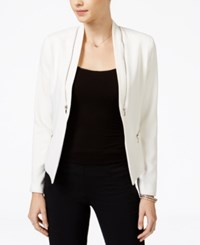 Xoxo Juniors' Zipper Trim Jacket Ivory