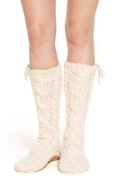 Lemon Women's 'Arctic' Cable Knit Knee High Slippers Vanilla Cream