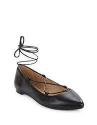 424 Fifth Charisma Leather Flats Black