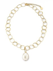Majorica 22Mm White Baroque Pearl Mixed Link Pendant Necklace White Pearl