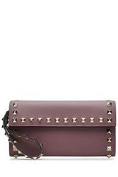 Valentino Leather Rockstud Wallet Purple