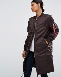 Alpha Industries Ma 1 Longline Bomber Coat With Gold Zip Vintage Brown