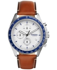 Fossil Men's Chronograph Sport 54 Light Brown Leather Strap Watch 44Mm 54Ch3029