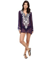 Ella Moss Stella Embroidered Tunic Cover Up Purple Women's Swimwear