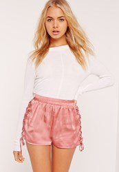Missguided Lace Up Side Satin Shorts Pink Rose
