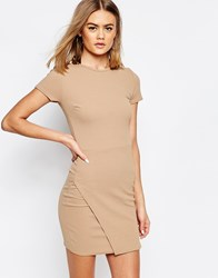 Daisy Street Shift Dress With Wrap Skirt Beige