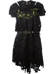 Sacai Lace Embroidered Belted Dress Black
