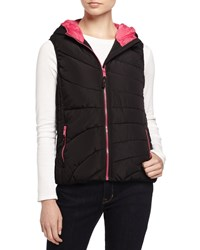 Marc New York Marc Ny Performance Quilted Puffer Vest W Contrast Lining Black Fuchsia