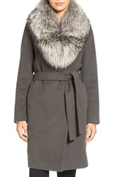 Elie Tahari Women's Wrap Coat With Genuine Fox Fur Collar