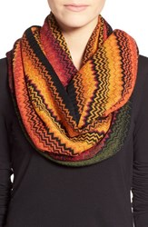 Women's Missoni Stripe Infinity Scarf Green Orange Yellow Dark Green