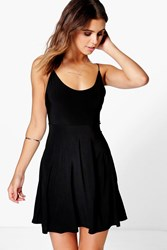 Boohoo Slinky Low Back Skater Dress Black
