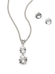 Swarovski Faceted Crystal And Rhodium Necklace And Earrings Set No Color
