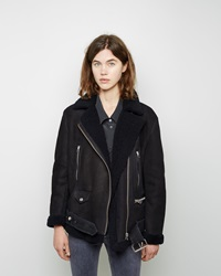 Acne Studios More Shearling Moto Jacket Dark Blue