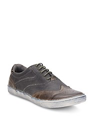Joe's Jeans Waves Leather And Coated Canvas Wingtip Sneakers Grey
