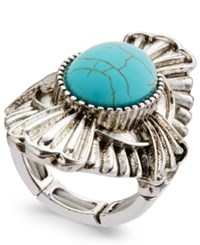 Macy's Silver Tone Turquoise Look Statement Stretch Ring