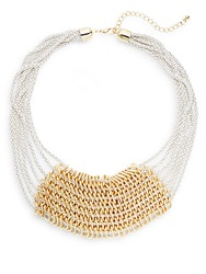 Cara Enameled Multi Chain Bib Necklace White Gold