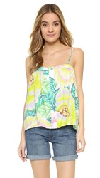 Mara Hoffman Button Front Tank White Multi